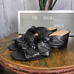 Pour La Victoire Black Leather Mules Sandals Knots